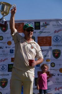 Australia  America captain Rob Bolch holds aloft the Napa Valley World Series of Cricket trophy Credit Jared Thatcher