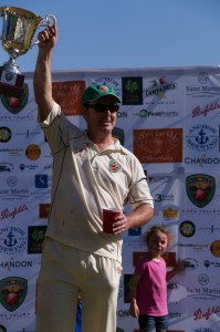 Australia & America captain Rob Bolch holds aloft the Napa Valley World Series of Cricket trophy Credit Jared Thatcher