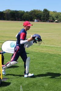 Caen Healy gets ready to -keep wicket- at the ICC America's combine in Indianapolis recently. Credit - Brad Rateike