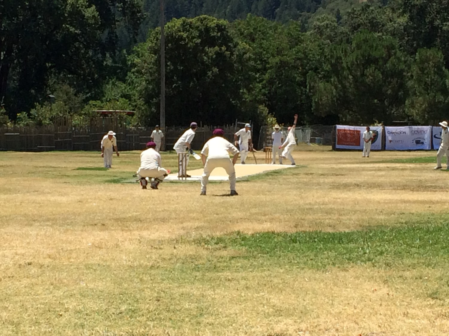 Dale Moorehouse bowls for the NVCC as Phil Bourke (left with purple cap) keeps wicket and Clive Richardson (right with purple cap) fields in the slips