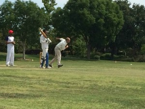 Hardeep Takhar of NVCC pictured bowling during his three wicket spell against SCC.