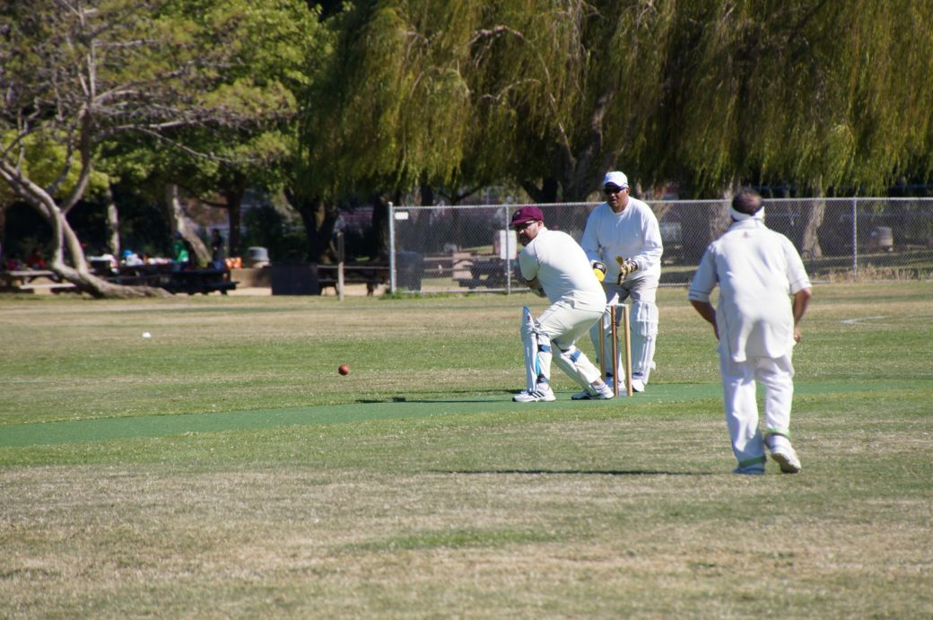 Jared Thatcher (with bat) of NVCC batting on his way to his score of 42 runs not out against Marin CC Socials cricket season