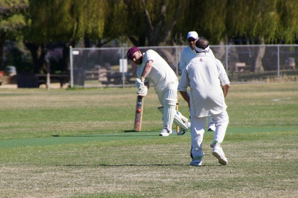 American Jared Thatcher (with bat) of NVCC batting on his way to his score of 42 runs not out recently against Marin CC Socials
