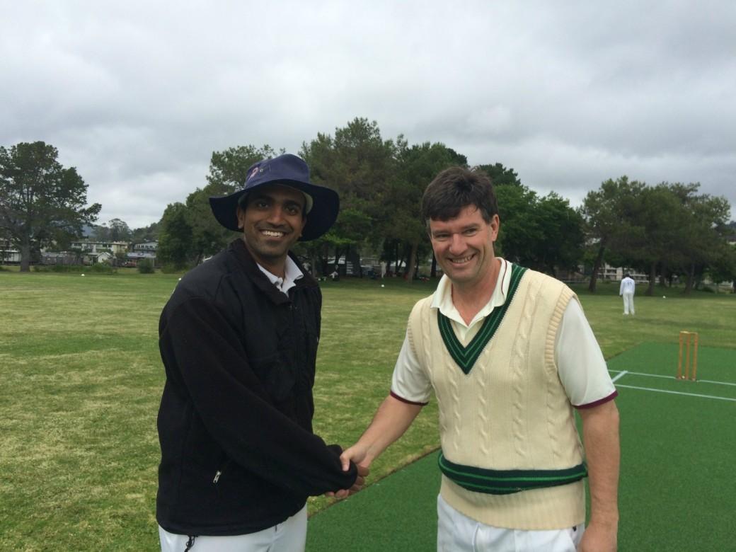 Marin CC captain Vish Chapalamadugu (L) and NVCC captain Bernie Peacock shake hands at the toss ahead of their recent game