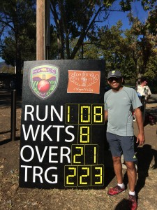 NVCC Batsman Bijoy Ojha celebrating his first century for the Napa Valley club. 102 not out off 77 balls
