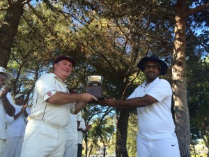 NVCC President Phil Bourke (L) received the annual season trophy from Vish Chapman (R) after NVCC defeated Marin CC 2-1 in their 2015 series of games