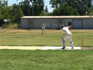 NVCC batsman Pete Carson pictured during one of his recent fine innings at the Fairgrounds in Calistoga. North Bay cricket