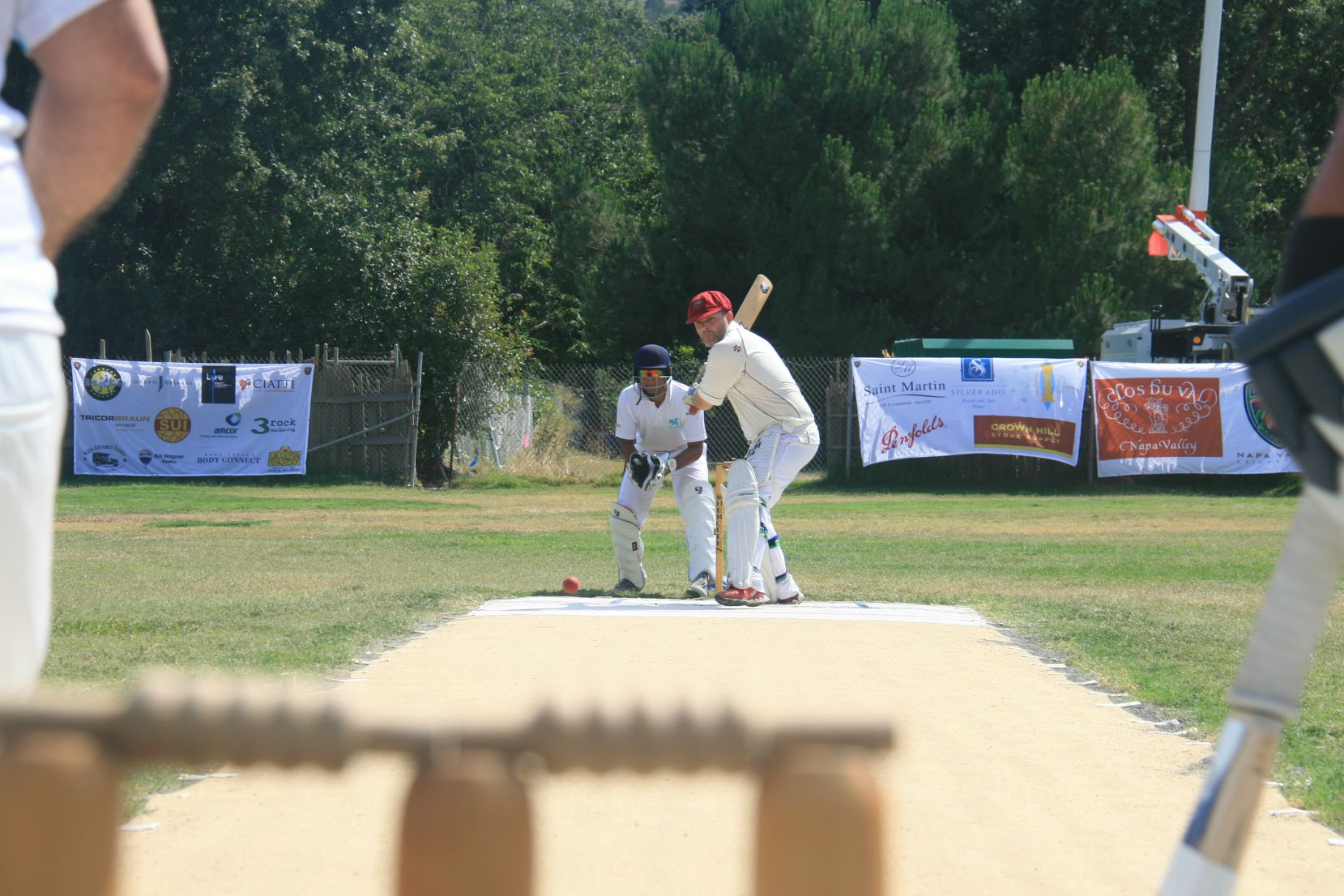 NVCC batsman Tony Parrish shapes to play a drive recently against the Twitter Kabootars