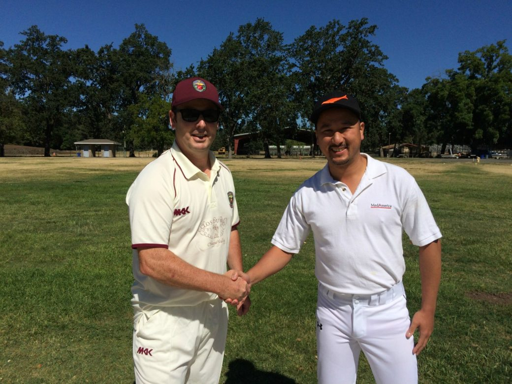 NVCC club captain Rob Bolch (L) pictured at the toss with Jack Tse of the SF Seals ahead of their recent game at the Fairgrounds, Calistoga