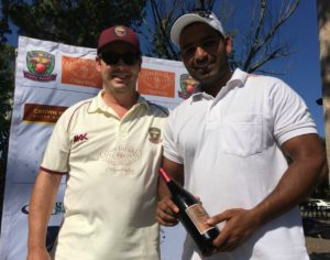 NVCC club captain Rob Bolch (L) presents Param Cheema of the Sonoma Gullies with the Clos du Val Man of the Match Award. North Bay cricket