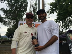 NVCC club captain Rob Bolch (L) presents the Clos du Val Man of the Match award to Ishan Patel of the Sonoma Gullies