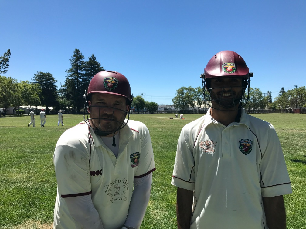Opening batsmen for the County side in the inaugural NVCC City v County Challenge Match at the Napa Valley Expo, Jared Thatcher. Submitted Photo
