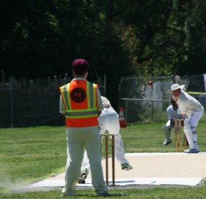 Pete Carson (with bat) shapes to play a drive shot for NVCC against SF Seals recently Credit Tin Irwin   Cricket