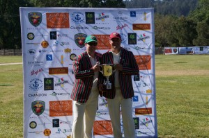 Pre game ceremonies as the two captains pose with the Napa Valley World Series of Cricket trophy. Rob Bolch (L) and Bill Nancar