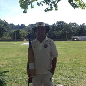 Rest of the World Captain Bill Nancarrow pictured in 2014 after he carried his bat against the Sonoma Gullies for a not out innings of 84 runs of 91 balls