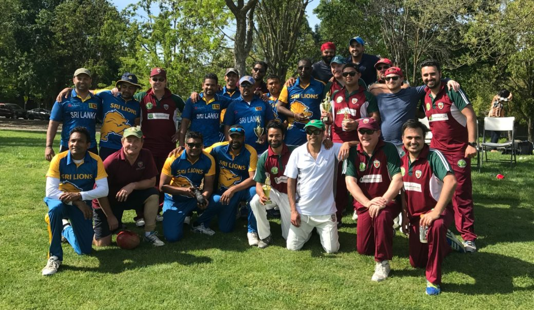 Sri Lanka Lions (Blue and Yellow) pose with NVCC (Purple and Green) after the recent match at Arroyo Park, Davis. Submitted Phot