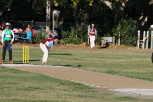 Tim Irwin of Napa Valley CC bowls to Nick Compton