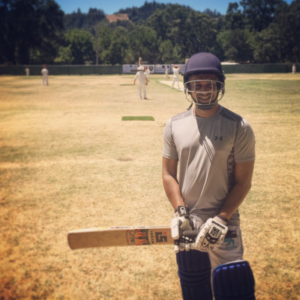 Twitter Kabootars batsman Amit Kumar pictured before he batted recently at the Calistoga Fairgrounds. Credit @BirdsWithBats on Twitter