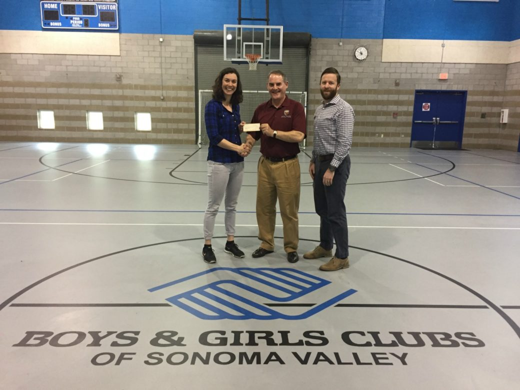 Alternate--  NVCC Treasurer Jamie Johnson (c) pictured donating money raised in the cricket club post fires fundraiser to Mindy Neves (l) and Michael Irvine (r) of the Boys & Girls Club of Sonoma Valley. Submitted Photo