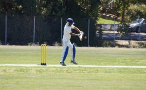 Amritpal Bhatal pictured on his way to his highest score in NVCC colors at the recent Napa Valley World Series of Cricket at the Napa Valley Expo in downtown Napa