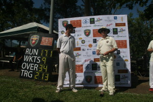 Captains at presentation time. SF Seals Captain Johnny Carpenter (L) and NVCC Captain Rob Bolch  Cricket