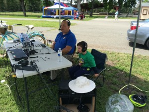 Dennis DeVilbiss and Conor Cleland in the commentary box at the Napa Valley World Series of Cricket