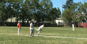 Jared Thatcher (third from left) bowling for the County side in the inaugural NVCC City v County Challenge Match at the Napa Valley Expo