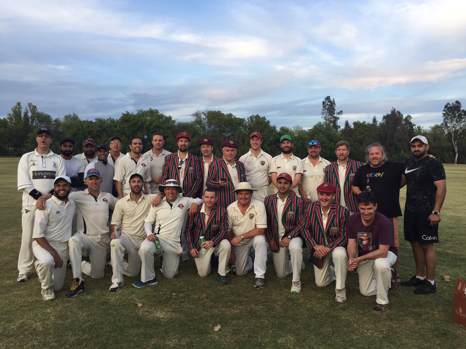 Malibu CC and Napa Valley CC pictured at Woodley Park at the end of their recent match. Photo Credit - Jamie Johnson