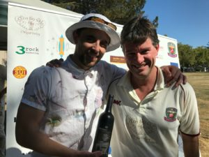 Man of the Match for the San Francisco Seals Luke Ingham (L) pictured with NVCC Captain Bernie Peacock who presented him with a bottle of wine from club sponsor 19 Crimes Wine