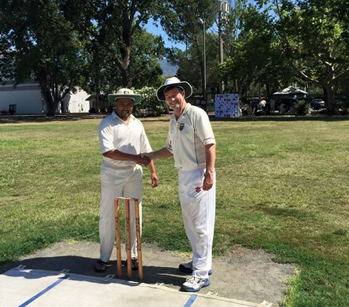 Manoj Rodrigo (L) captain of the Sri Lanka Socials and Bernie Peacock, NVCC Captain, after the toss at their recent game in Calistoga