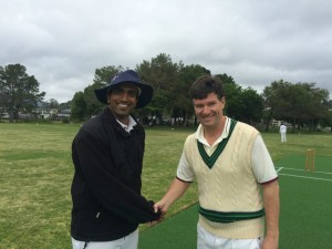 Marin CC captain Vish Chapalamadugu (L) and Napa Cricket captain Bernie Peacock shake hands at the toss ahead of their recent game  Napa cricket Marin