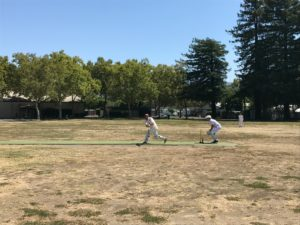 NVCC Batsman Pete Carson plays a shot down the leg-side during the recent match against the SF Seals at the Napa Valley Expo