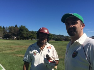 NVCC Batsmen Abhijit Adhye (L) and John Leake (R) who shared a 144 run third-wicket partnership for NVCC against Marin