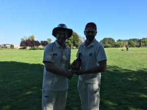 NVCC Captain Bernie Peacock (L) pictured presenting Marin CC's Nikin Patel with the Clos du Val Man of the Match award in Piper