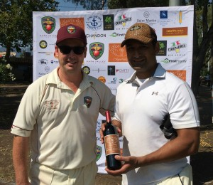 NVCC Captain Rob Bolch (L) presents Marin CC batsman Sunil with the Clos du Val Man of the Match award