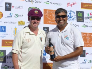 NVCC Captain Rob Bolch presents the Clos du Val Man of the Match Award to Sushil Kumar of the Sonoma Gullies