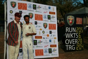 NVCC Captain Rob Bolch presents the Compadres Rio Grille Napa Valley Man of the Match Award to Amritpal Bhatal for his maiden N