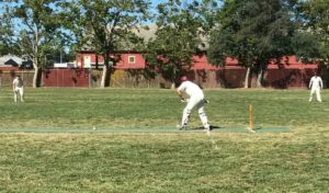 NVCC City batsman John Leake on his way a score of 55 runs off 46 balls in the inaugural NVCC City v County Challenge Match at t