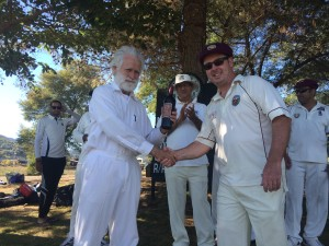 NVCC Club Captain Rob Bolch (R) presents Jim Pitman of Marin CC with the Clos du Val Man of the Match award