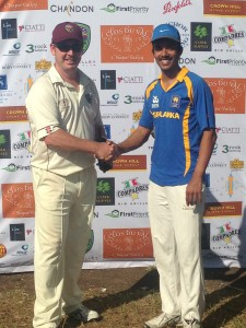 NVCC Club Captain Rob Bolch presenting Clos du Val Man of the Match to Sacramento Captain Kavindu Dhanapala