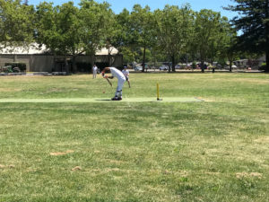 NVCC batsman Sarabjit Singh plays a defensive shot at the Napa Valley Expo recently. Singh went on to top score for NVCC with 19 runs off 12 balls. Submitted Photo (1)