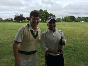 NVCC captain Bernie Peacock (L) presents Marin CC's Mohamed Shejad with the Clos du Val Man of the Match award Napa Cricket Napa cricket Marin