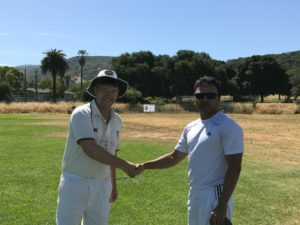 NVCC-club-captain-Bernie-Peacock-L-shakes-hands-with-Sunny-Patel-of-the-Sonoma-Gullies-after-Patel-won-the-toss-at-their-recent-match