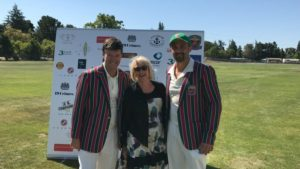Napa Mayor Jill Techel (C) with Bernie Peacock (L) and John Leake (R) after performing the toss for the NVCC World Series of Cricket at the Napa Valley Expo in downtown Napa recently