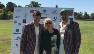 Napa Mayor Jill Techel (center) pictured with ROW captain Bernie Peacock (L) and AA captain John Leake ahead of the match coin toss for the Napa Valley World Series of Cricket in 2017. Submitted photo