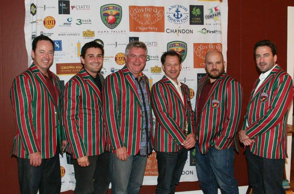 Napa Valley Cricket Club Men In Blazers (L-R) Rob Bolch, Tim Irwin, Phil Bourke, Andrew Healy, Jared Thatcher, Gus Cleland