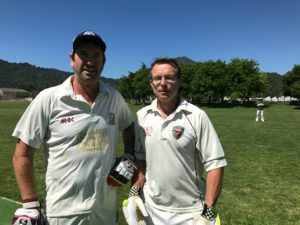 New Zealanders Martin Mackenzie (L) and Jeff Keene who opened the batting for NVCC in their recent match against Marin CC at Piper Park, Larkspur. Submitted Photo