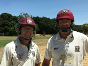 Opening batsmen Jeff Keene (L) and Martin Mackenzie pictured before the recent match against Bradshaw CC at McGrath Field