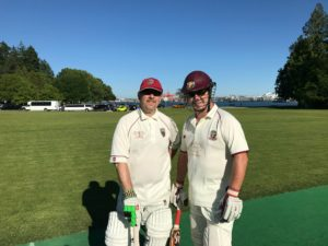 Opening batsmen for the NVCC on their tour match at Stanley Park, Vancouver. Clive Richardson (L) and Rob Bolch.