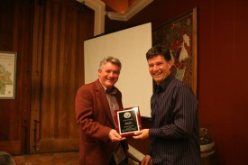 Phil Bourke pictured with Bernie Peacock (NVCC Bowler of the Year 2014)